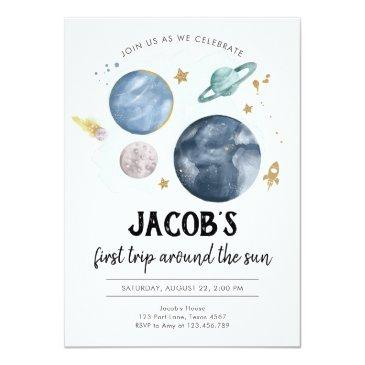 Small Outer Space Planets Boy First Birthday Invitation Front View