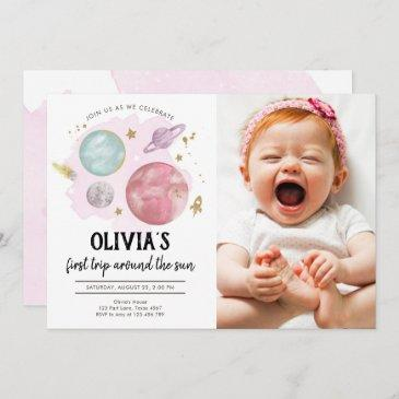 outer space planets girl first birthday invitation