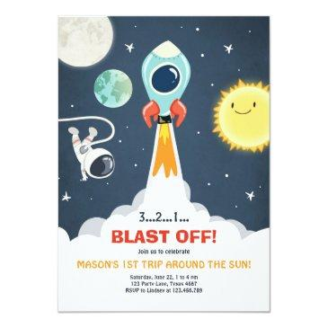 outer space ship boy 1st birthday invitation