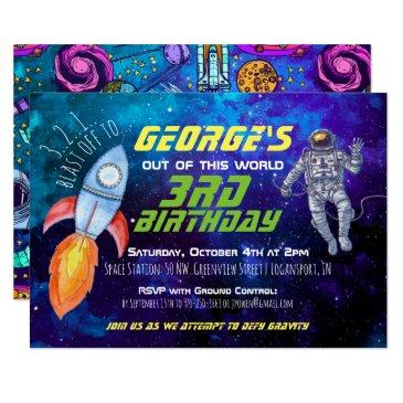 outer space themed party invitation