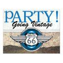 over the hill - route 66 - vintage cars- srf invitations