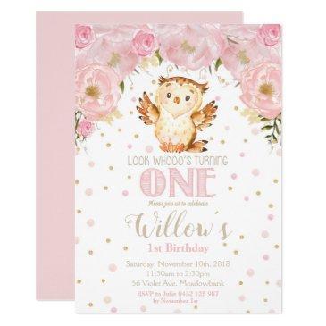 owl 1st birthday invitation blush floral girl