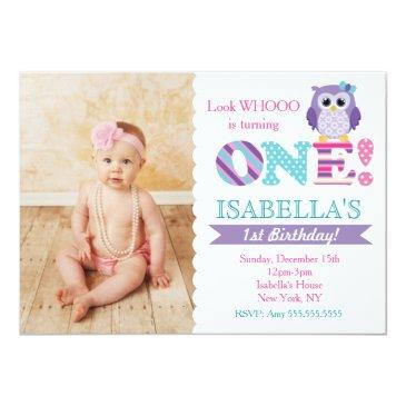 owl 1st birthday invitations for girl