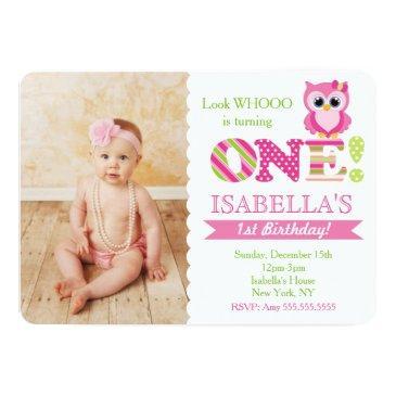 owl first birthday invitations