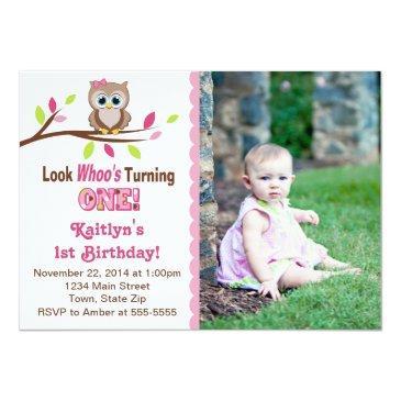 owl girl 1st birthday invitation photo invitations