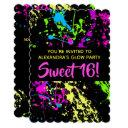 paint splatter sweet 16 birthday party invitation