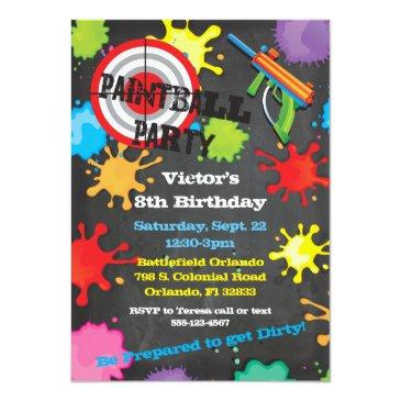 paintball birthday party chalkboard background invitations