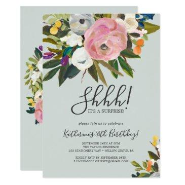 painted floral surprise party invitations