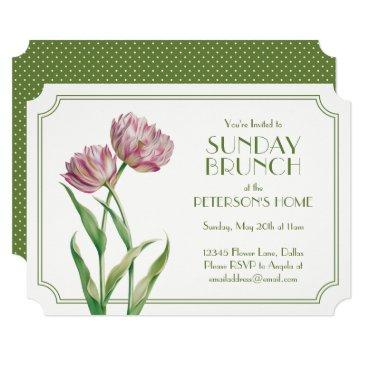 painted tulips and polka dots sunday brunch invitation