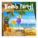 palm tree cocktails adult beach party invitations