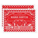 papel picado birthday party invite - red