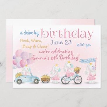parade of pink bunnies drive by birthday invitation