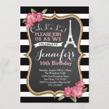 paris eiffel tower birthday party invitation
