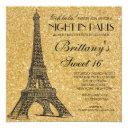paris sweet 16 birthday gold glitter invitation