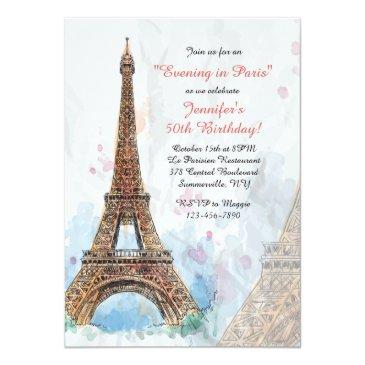 paris watercolor invitations