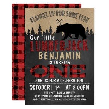 part chalkboard lumberjack 1st birthday invitations