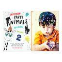 party animal birthday invitation zoo wild black
