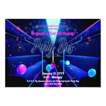Small Party Bus Glow Party Club Hopping 21st Birthday Invitation Front View