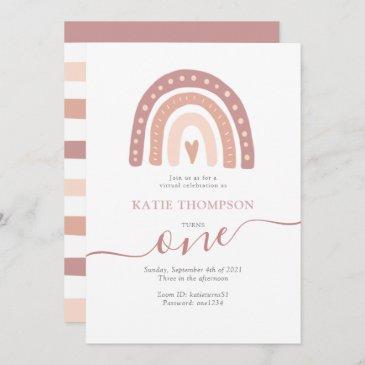 pastel pink rainbow boho virtual first birthday invitation