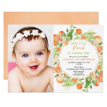 peach 1st birthday girl, peaches theme photo invitation