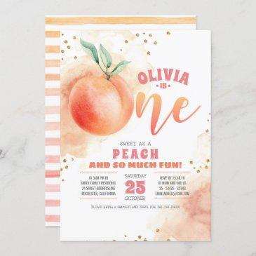 peach 1st birthday invitations