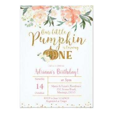 Small Peach Our Little Pumpkin Is Turning One Invitation Front View