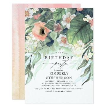peach white and pink floral bohemian birthday invitation