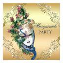 peacock and feathers mask gold masquerade party invitations