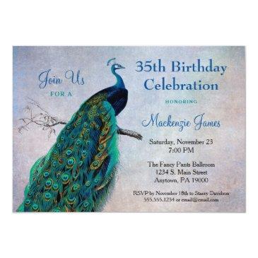 peacock birthday invitations vintage blue bird