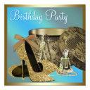 pearls high heel shoes teal blue womans birthday invitation