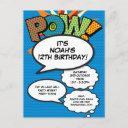 personalised pop art comic book birthday invitation postinvitations