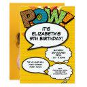 personalised pop art comic book photo birthday invitation