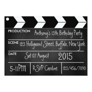 personalize hollywood movie theme party chalkboard invitations