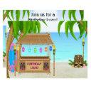 personalized luau girls beach birthday invitation
