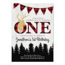 personalized lumberjack theme boys first birthday invitations