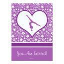 personalized purple flowers pattern gymnastics invitation