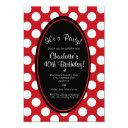 personalized red polka dot party invitation