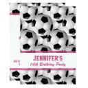 personalized soccer ball pattern v3 pink birthday invitation