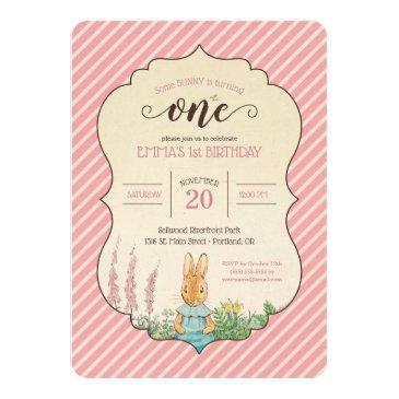 peter rabbit | baby girl's first birthday invitation