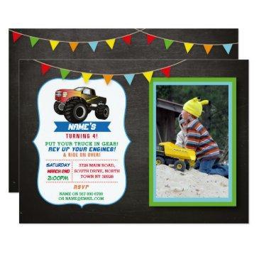 photo birthday party truck car monster smash invitations