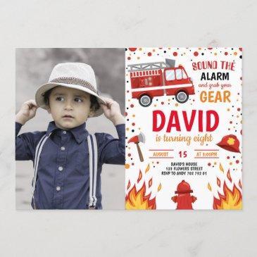 photo boy birthday firefighter invitation fireman