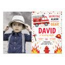 photo boy birthday firefighter invitation fireman