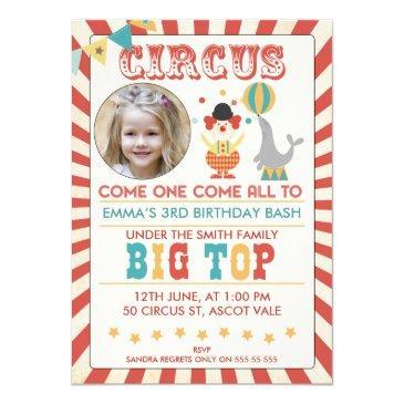 photo circus birthday party invitation