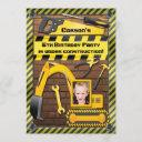 photo construction birthday party tools and digger invitation
