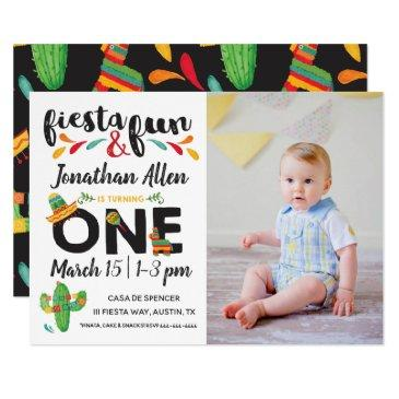 photo fiesta first birthday invitations