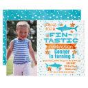 photo fin-tastic shark birthday invitations