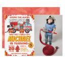 photo firefighter birthday invitation