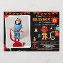 photo firefighter birthday invitation firetruck