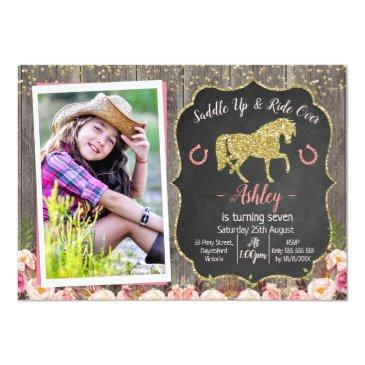 photo floral glitter horse birthday invitations