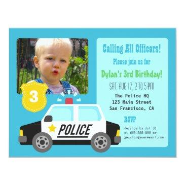 photo police car kids birthday party invitations